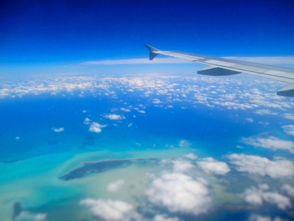 airplane over caribbean