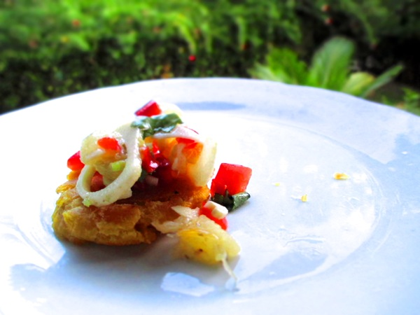 Patacones with Heart of Palm Ceviche