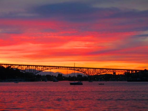 aurora bridge sunset